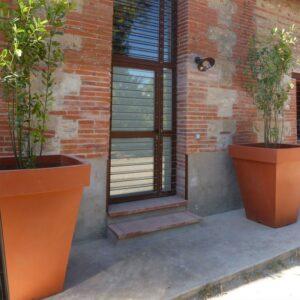 Pot, décoratif, carré, jardin
