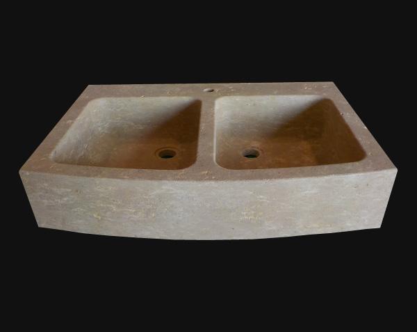 Evier de cuisine rustique 2 bacs en pierre