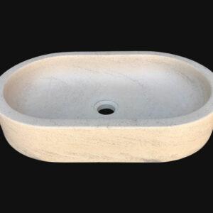 Vasque élégante en pierre blanche